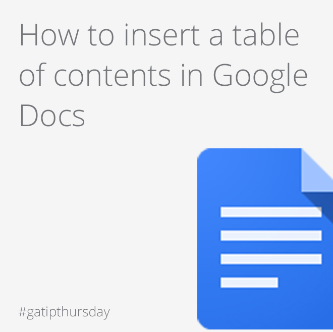 Appscare insert a table of contents in google docs for Table of contents google docs