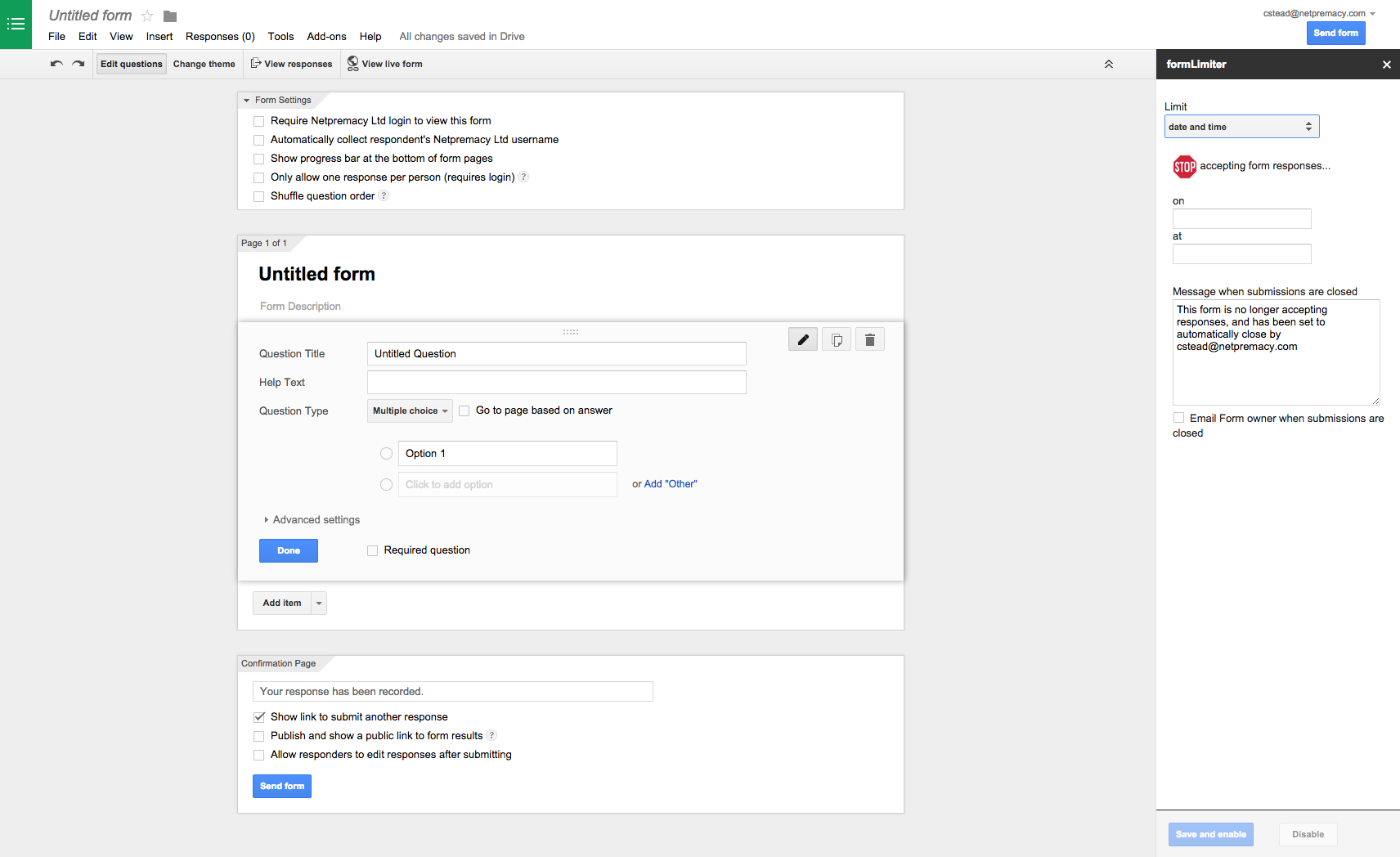 AppsCare | How to set time limits on Google Forms submissions ...