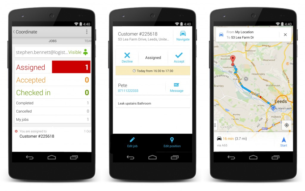 Google Maps Coordinate Accepting a Job