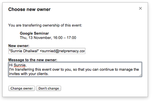 Google Apps Tips - Google Calendar Transfer Ownership