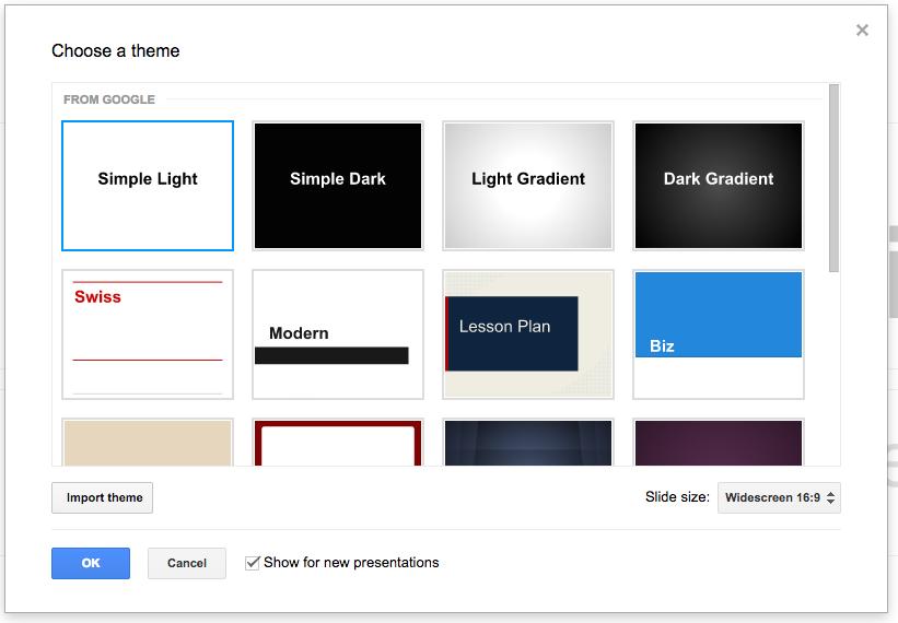 import themes for google slides