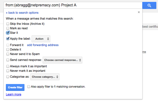 Action labels in Gmail