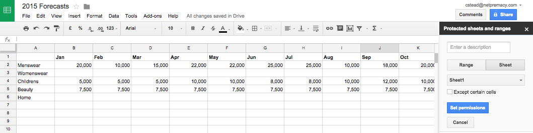 Google Apps Tips: Google Sheets Protect Sheet
