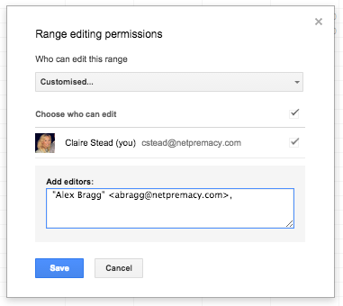 Google Apps Tips: Google Sheets Range Editing Permissions
