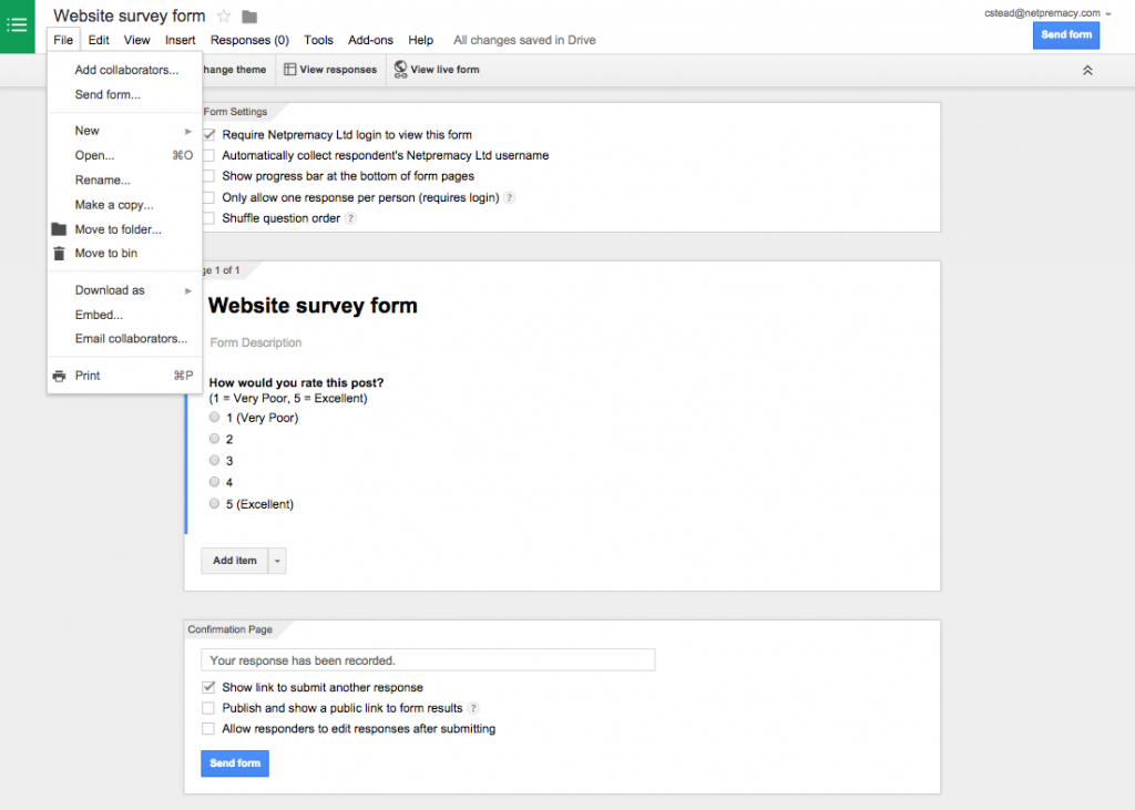 Google Apps Tips: Embed Google Forms