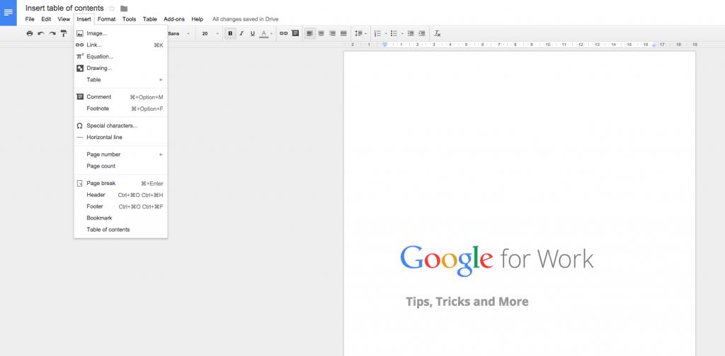 Google Apps Tips: Google Docs Insert Header