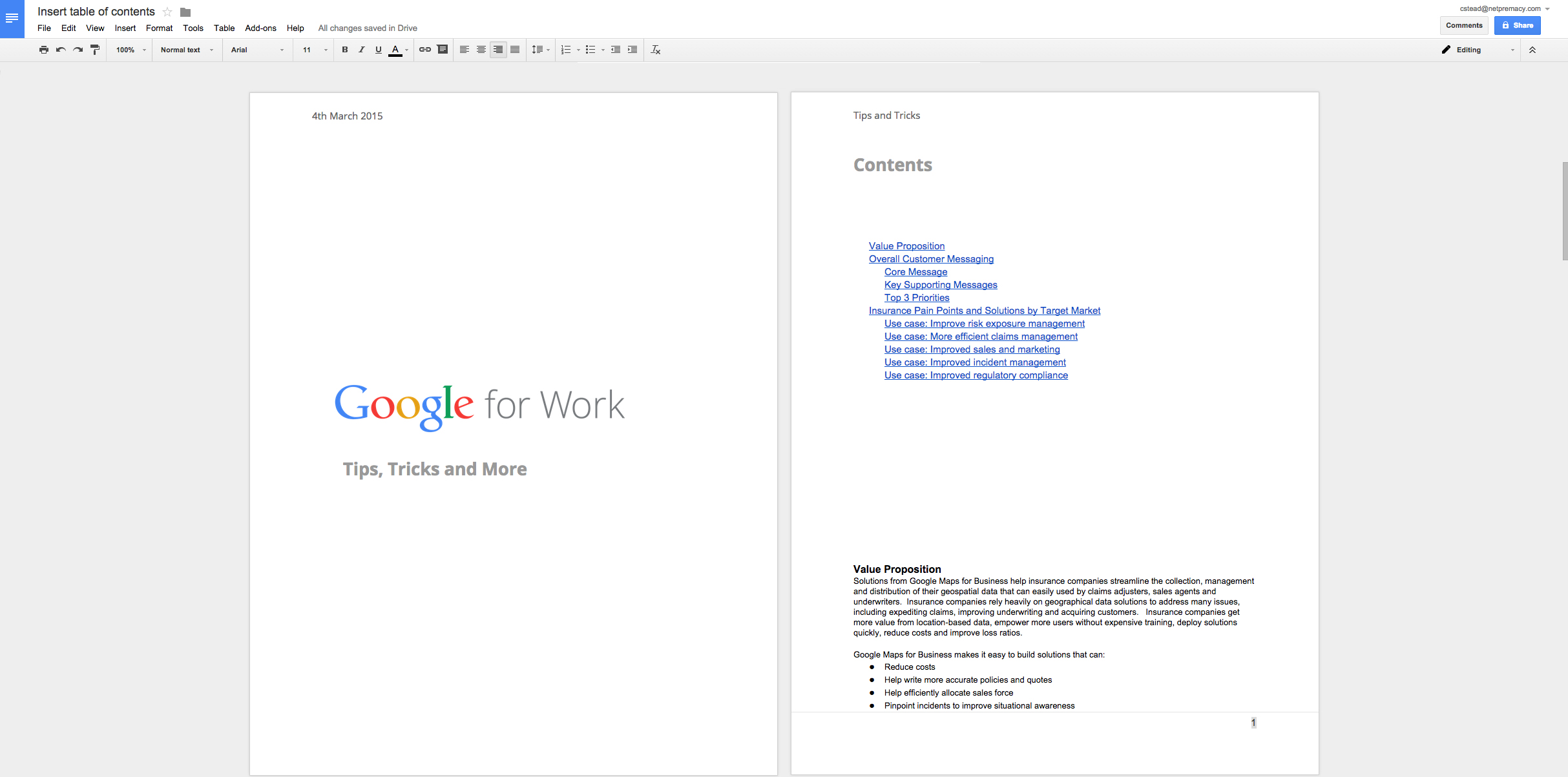 Appscare set a unique header or footer for your title for Google docs front page template