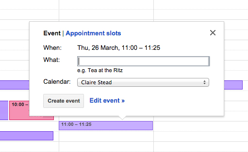 Google Apps Tips: Google Calendar event