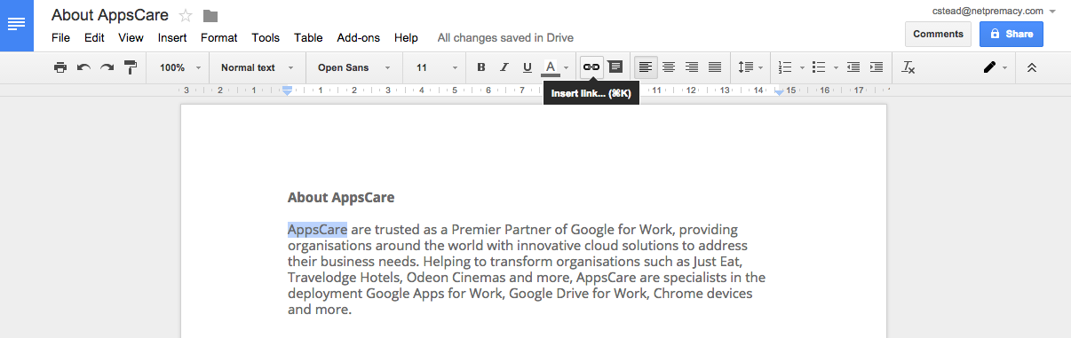 AppsCare Using URL Search In Google Docs AppsCare - Using google docs