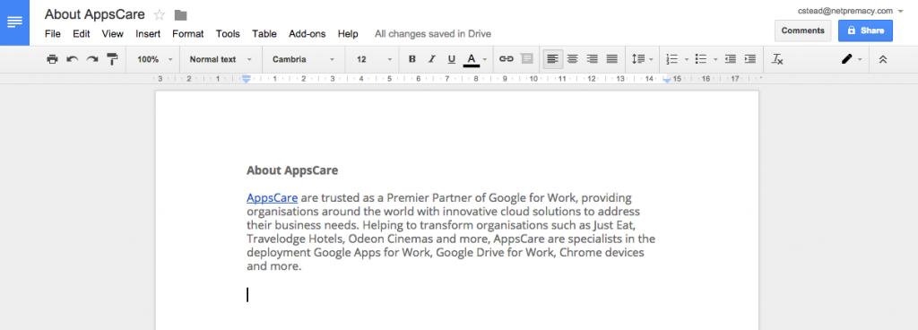 Google Docs hyperlinked