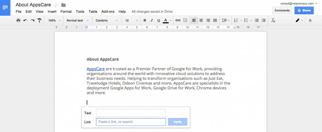 Google URL Search in Google Docs