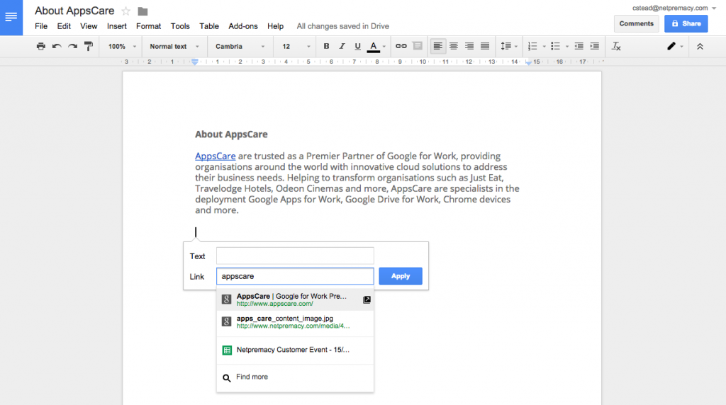 Google Docs URL Search