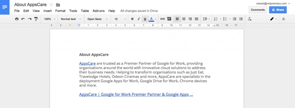 Google Docs Hyperlink