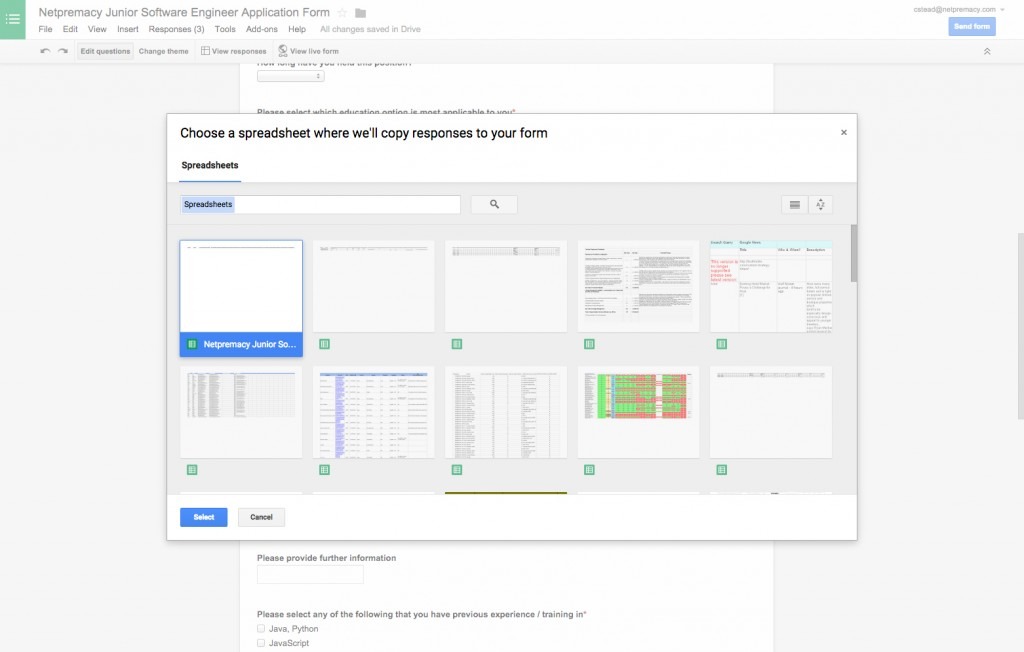 Google Forms change response destination