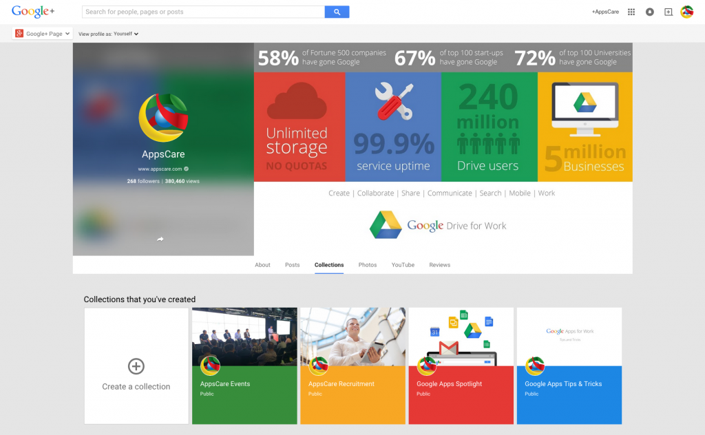 Google+ Collections on AppsCare