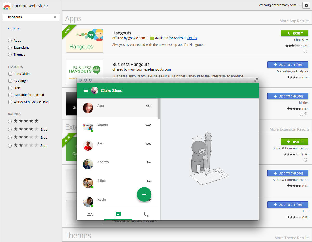 AppsCare | Using the new Google Hangouts app in Chrome ...